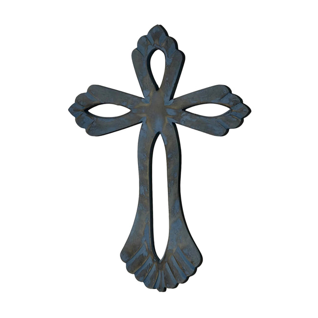 Hand-Carved Wood St. Agnus Wall Cross