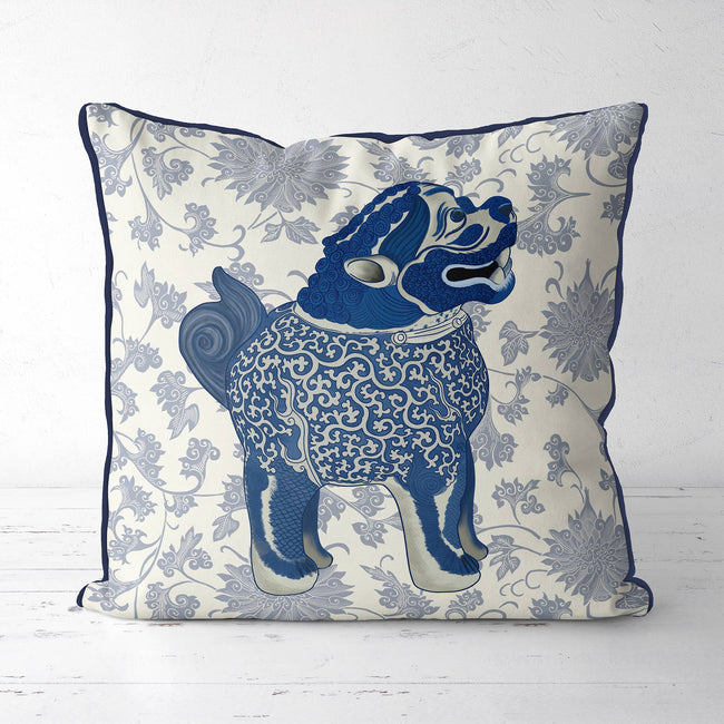 Happy Foo Dog Blue Cream Chinoiserie Pillow