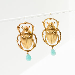 Larissa Loden Jewelry - Giant Scarab Amazonite Earrings