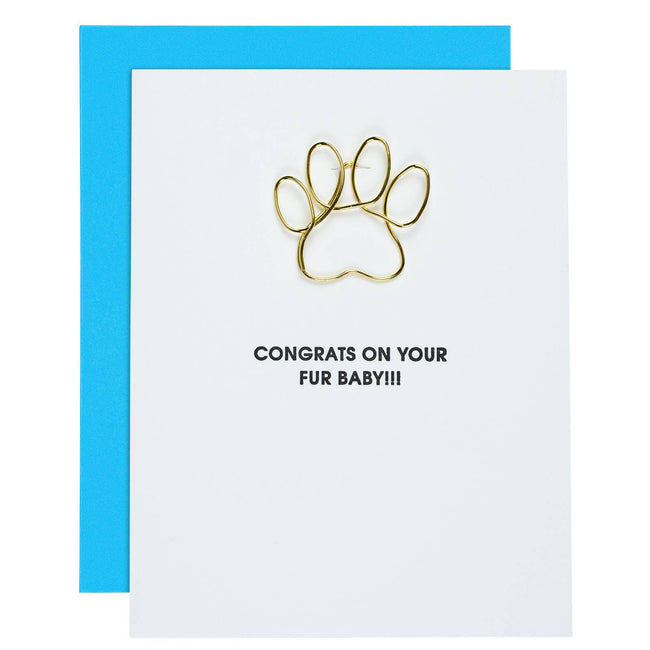 Congrats on Your New Fur-Baby - Paw Print Paper Clip Card