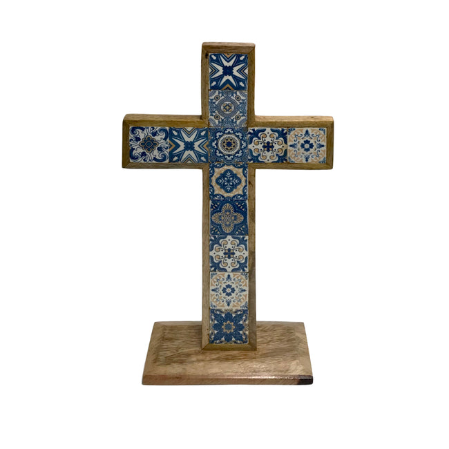 Hand-Painted Inlaid Ceramic Tile in Mango Wood Table Cross