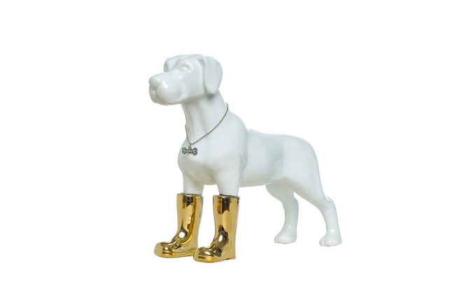 "Dog with Gold Boots Bank - 11"" tall"