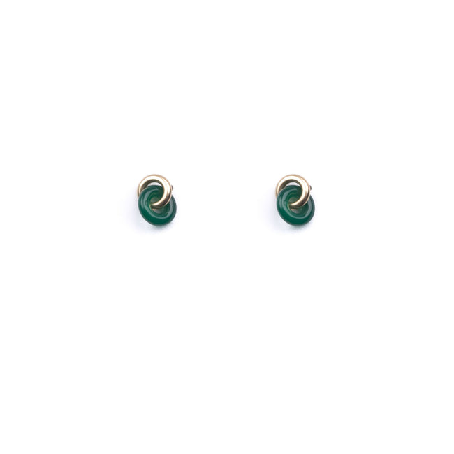 Michelle Starbuck Designs - Green Agate Tiny Link Studs