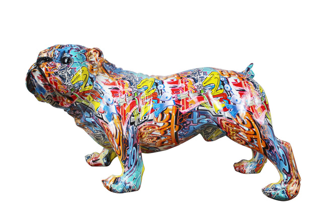 "Hand Painted Realistic Size Street Art Bulldog - 30"" long"
