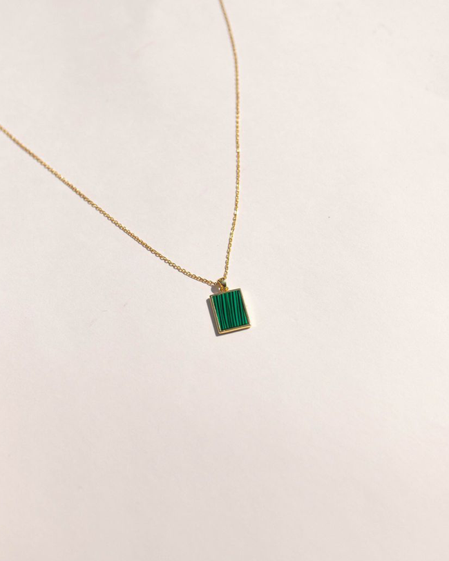 Esther Plate Necklace in Green