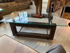 "Teddy Coffee Table 55"" with glass"
