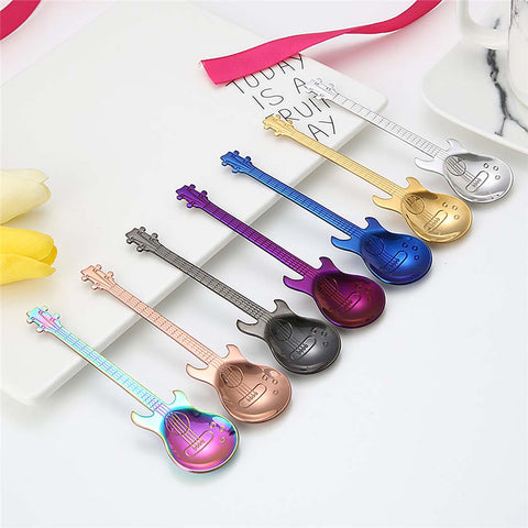 1Pcs Stainless Steel Cartoon guitar Spoon Creative Milk Coffee Spoon Ice Cream Candy Teaspoon accessories