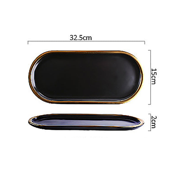 Oval Black Gold Trim Plate Serving Tray - Large