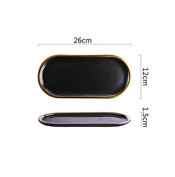 Oval Black Gold Trim Plate Serving Tray - Small