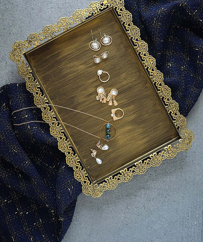 Rustic Vintage Gold Lace Tray