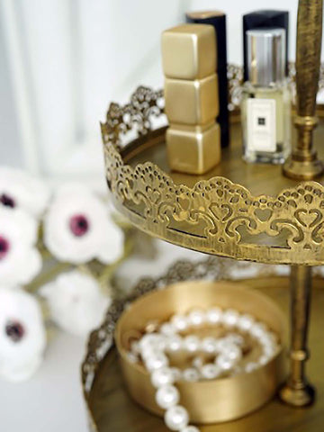 2 Tier Rustic Gold Lace Cake Stand Farmhouse Shabby Chic Display