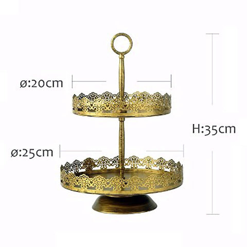 2 Tier Rustic Gold Lace Cake Stand