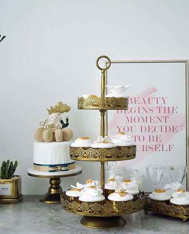 3 Tier Rustic Vintage Gold Shabby Chic Farmhouse Display Cake Cupcake Decor Stand