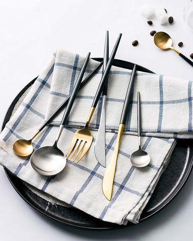 4 Piece Annie Matte Black Gold Silver Flatware cultery Box Set