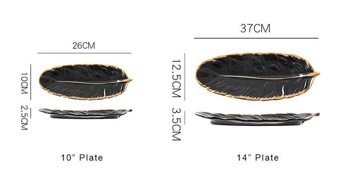 Ceramic-feather-plate-banana-leaf-plate Nordic-ins-style-home-decorations-storage-plate-jewelry-plate-dessert-plate-Black