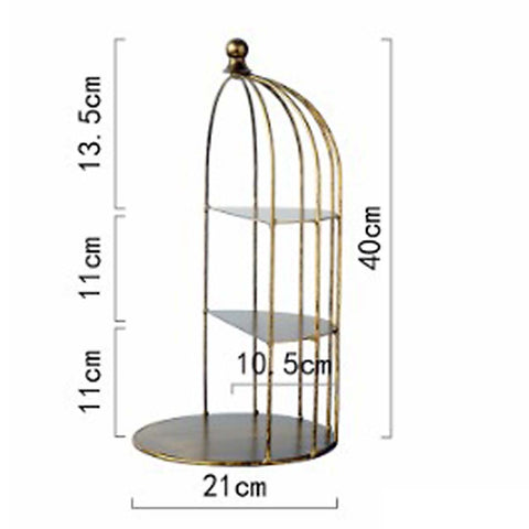 Rustic Gold Birdcage Cake Display Stand Farmhouse