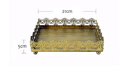 Vintage Rustic Gold Lace Tray Farmhouse