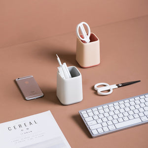 Desktop Pen & Pencil Holder Plastic Makeup Desk Organizer home supplies office school study desk work desk container canister cup holder