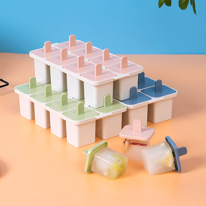 8 Removable Square Popsicle Ice Moulds with Base