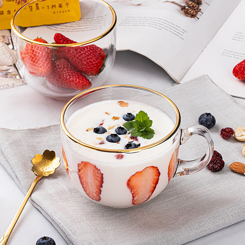 Gold Rim Glass Mug & Spoon Set