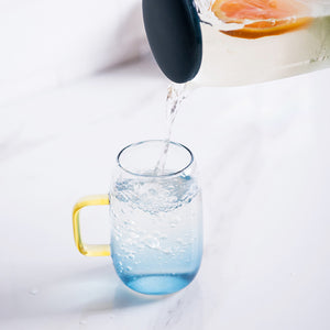 1.4L Transparent Glass Pitcher with 2 Matching Drinking Glass