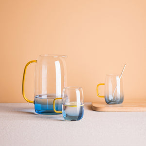 1.4L Transparent Glass Pitcher with 2 Matching Drinking Glass bedside drinking water glass jug bpa-free lead carafe water jar carafe