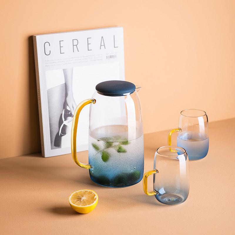 1.4L Transparent Glass Pitcher with 2 Matching Drinking Glass bedside drinking water glass jug bpa-free lead carafe water jar carafe tumbler bedside night use in bedroom