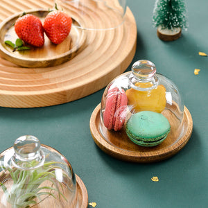 Wooden Dessert Plate with Glass Dome Cover