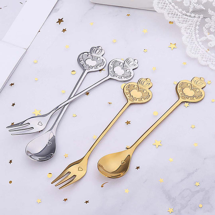 Crown Dessert Fork and Spoon, Set of 2