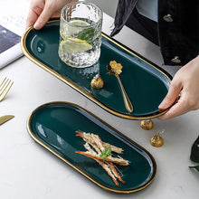 Load image into Gallery viewer, Not just for serving food, these beautiful quality ceramic marble effect platters is perfect to display as decorative trays for holding small items or pieces of jewelry.