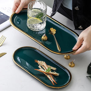Not just for serving food, these beautiful quality ceramic marble effect platters is perfect to display as decorative trays for holding small items or pieces of jewelry.