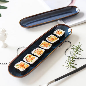 Enhance your food presentation with this quality porcelain long serving platter. Perfect for appetizers, sushi, party food or nibbles.