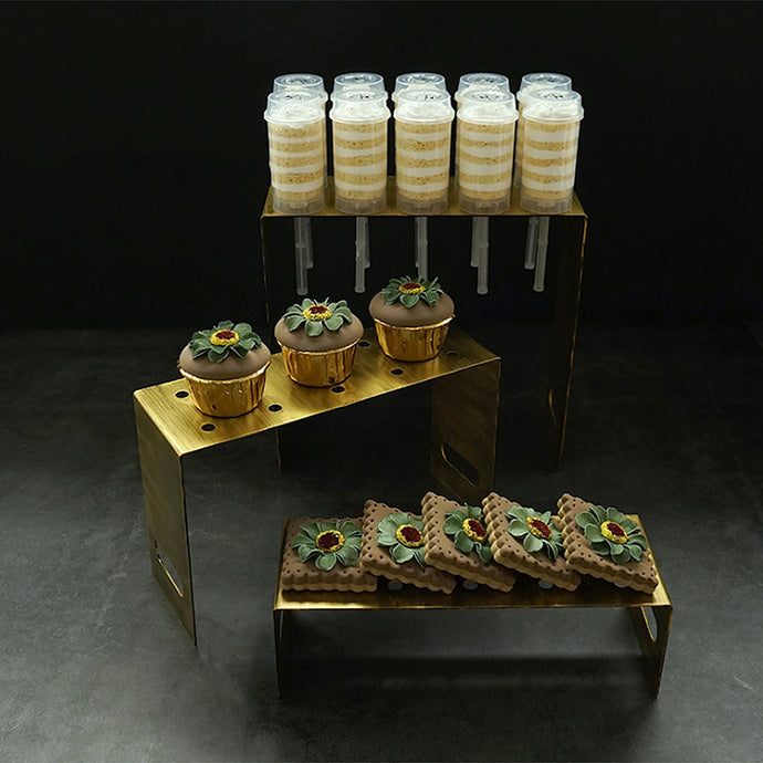 Rustic vintage gold 3 piece cake pop stand set for presenting your cakes, pops and cupcakes for birthday parties, baby shower, bridal shower, theme parties and other occasions.