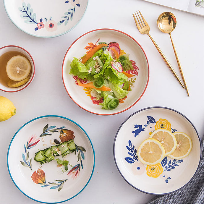 Premium quality porcelain low bowls are nice to look at, durable and safe for daily use.   Hand-painted glaze bowl with floral pattern adds a vintage charm to your table setting. Ideal for serving salad, pasta, soup or dessert.  Bowls are hand-glazed, hand painted and finishing may be different from one another.