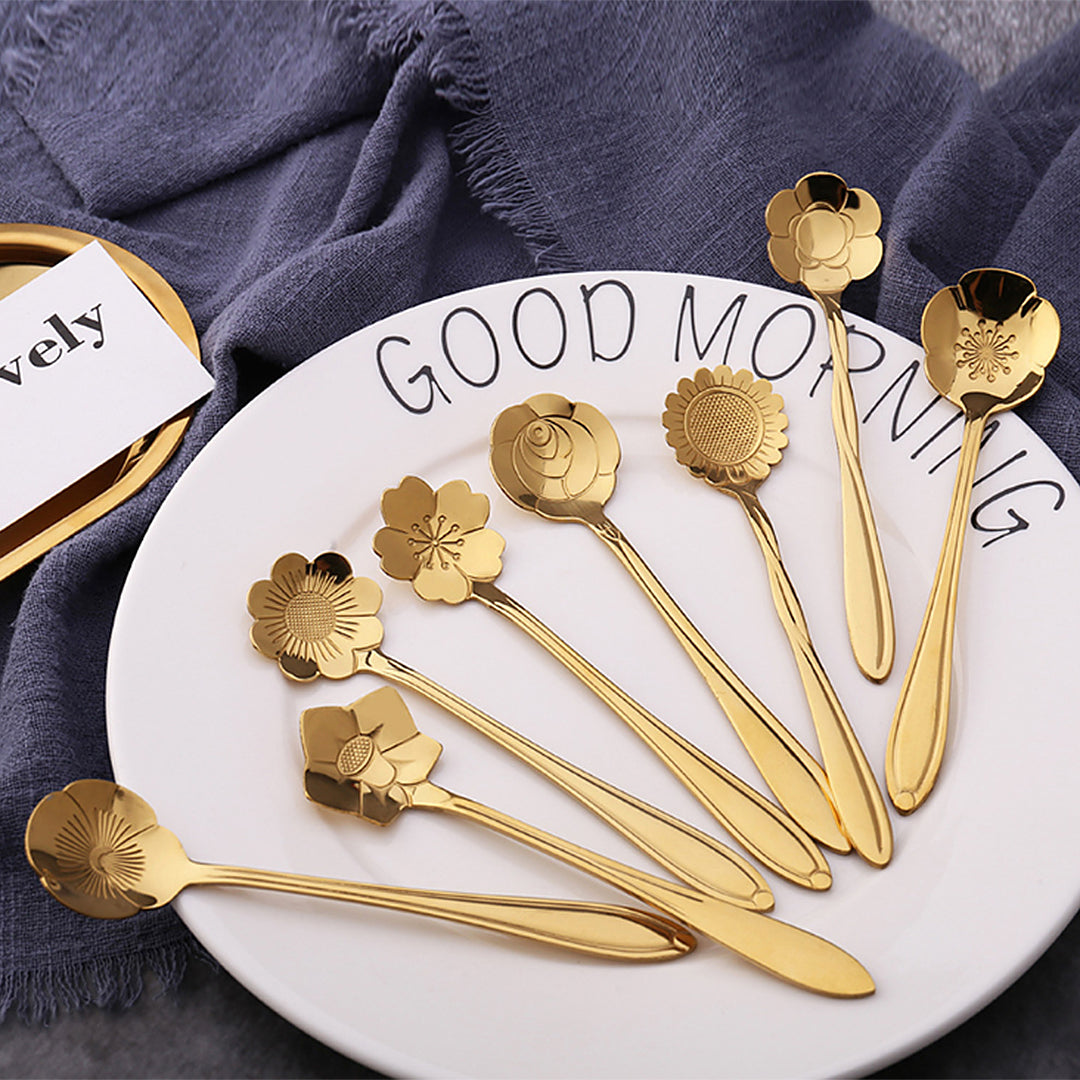 Gold Floral Teaspoon, Set of 8