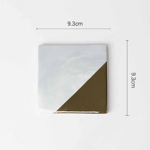 Load image into Gallery viewer, White Ceramic Gold Edge Coasters, 4 Pieces