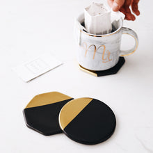 Load image into Gallery viewer, Black Ceramic Gold Edge Coasters, 4 Pieces