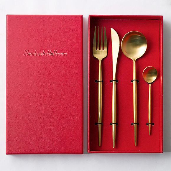 Annie Matte Gold Flatware, Set of 4