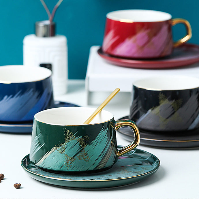 Brush Strokes Cup and Saucer Set