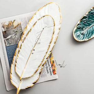 White Feather-Shaped Serving Plate