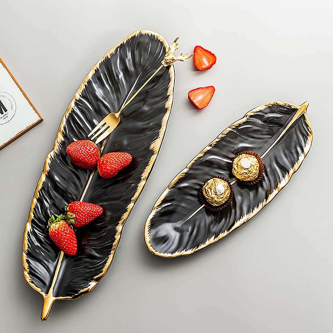 Black Feather-Shaped Serving Plate