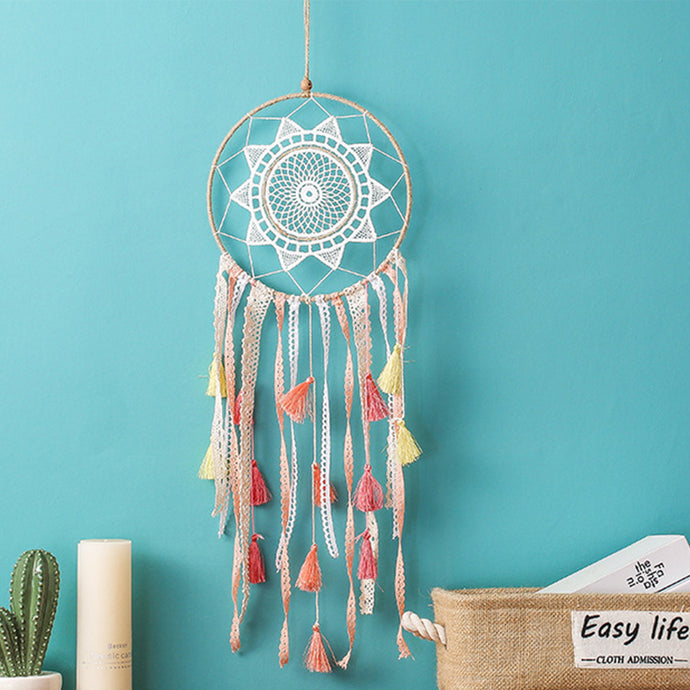 Add the final perfect lovely touch for themed nursery, bedroom or creative space with this Boho Style Crochet Sunwheel dreamcatcher