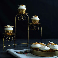 Load image into Gallery viewer, Rustic vintage gold cupcake ladder stands for presenting your cakes and cupcakes for birthday parties