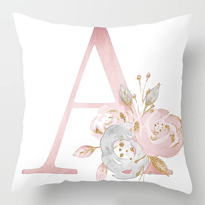 Instantly update and decorate your room with this floral blush with gold accent monogram letter cushion cover. Add that girlish charm to your room and makes a suitable gift too.   Mix and match your monogram letter and save when you buy more.
