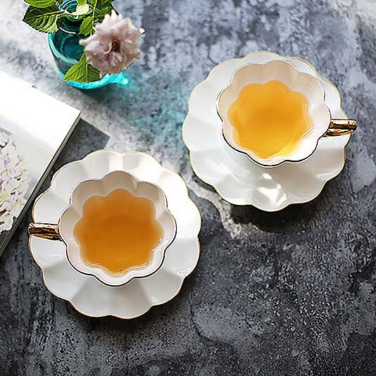 Flower Cup and Saucer, Set of 4