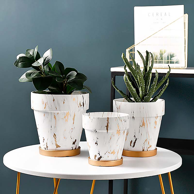 Gold Crack Ceramic Pot Planter