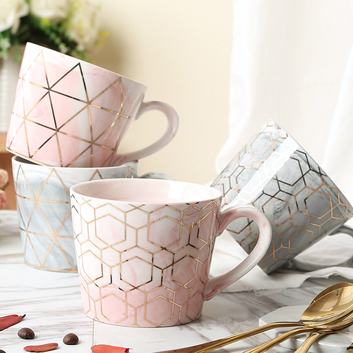 Marble ceramic coffee mug grey pink cup kitchen bar geometric pattern large cereal bowl latte americano hot cold beverages