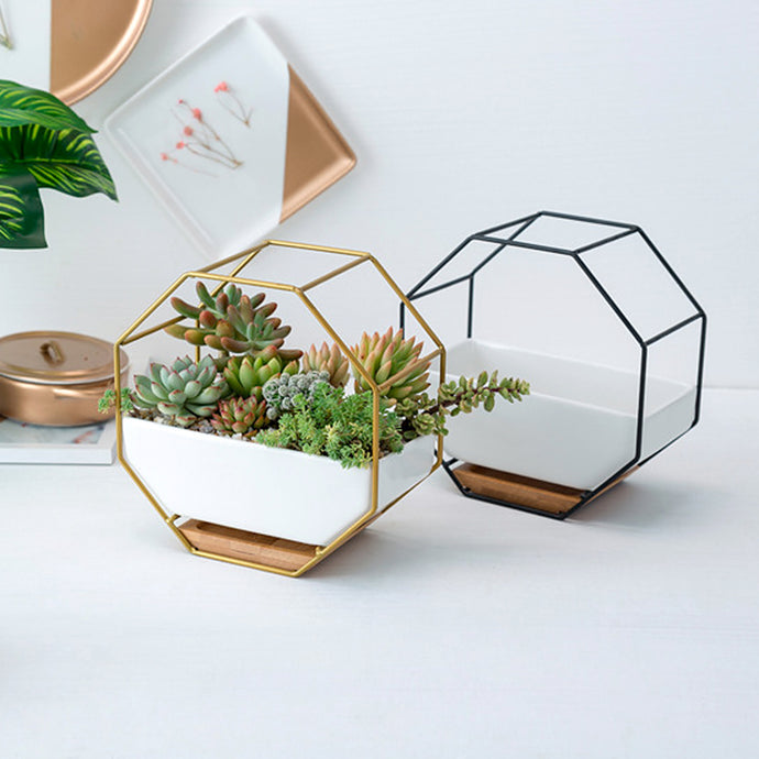 ceramic planters indoor plant pots flower succulents decorative garden pot bamboo tray honeycomb hexagon metal gold rack