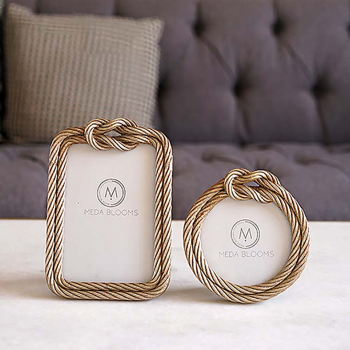 Set of 2 Gold Knotted Rope Frame with Stand