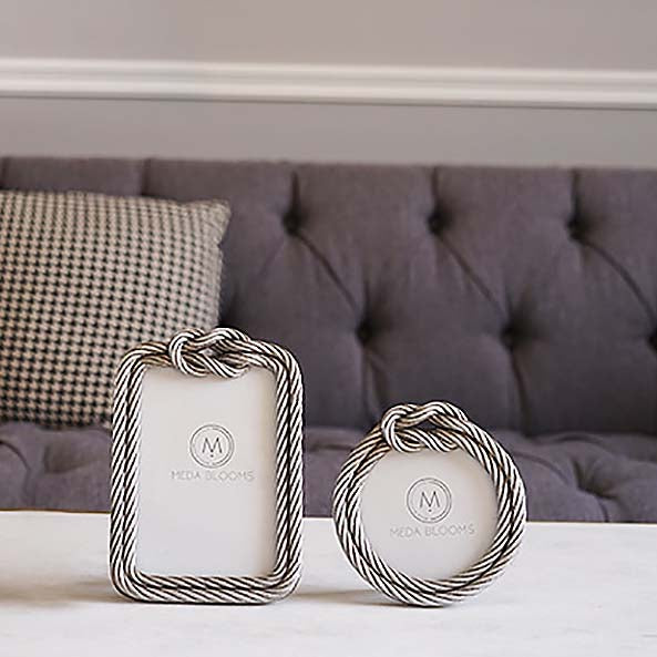 Set of 2 Silver Knotted Rope Frame with Stand